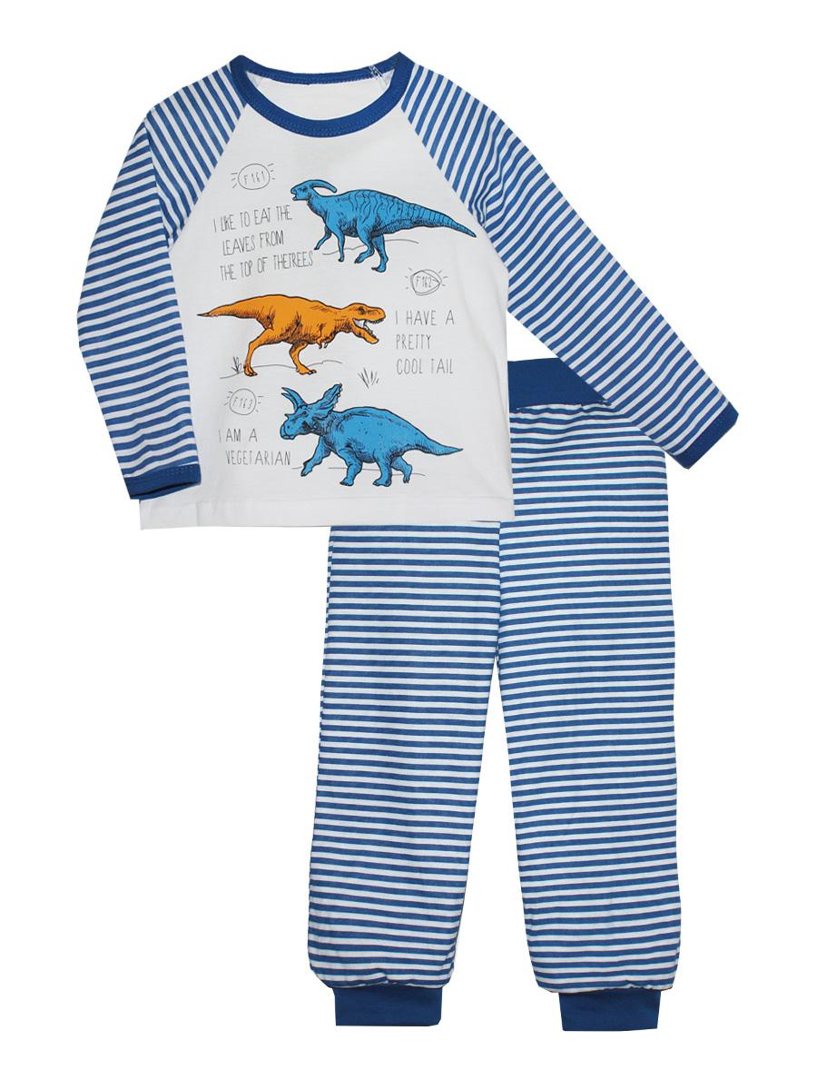 Пижама16510Пижама для мальчика КотМарКот выполнена из натурального хлопка и состоит из кофточки и брючек в полоску. Кофточка выполнена с длинными рукавами и удобным круглым воротом. Штанишки на талии собраны на эластичную резинку. Кофточка оформлена оригинальным принтом с динозаврами. Брючки дополнены широкими манжетами.