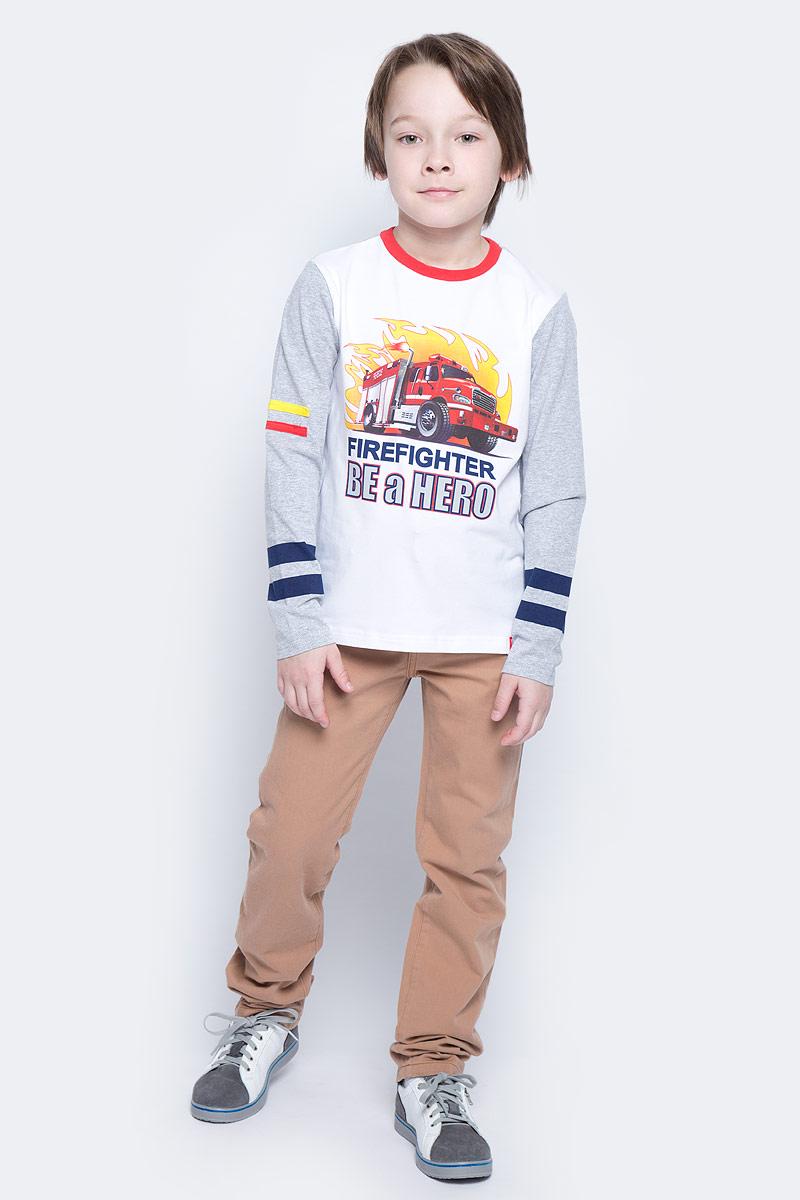 Футболка с длинным рукавом171072Футболка с длинным рукавом для мальчика PlayToday выполнена из эластичного хлопка. Модель с круглым вырезом горловины и длинными рукавами оформлена оригинальным принтом.