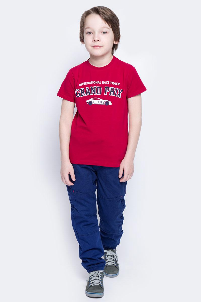 Футболка171024Футболка для мальчика PlayToday выполнена из эластичного хлопка. Модель с круглым вырезом горловины и короткими рукавами оформлена оригинальным принтом.