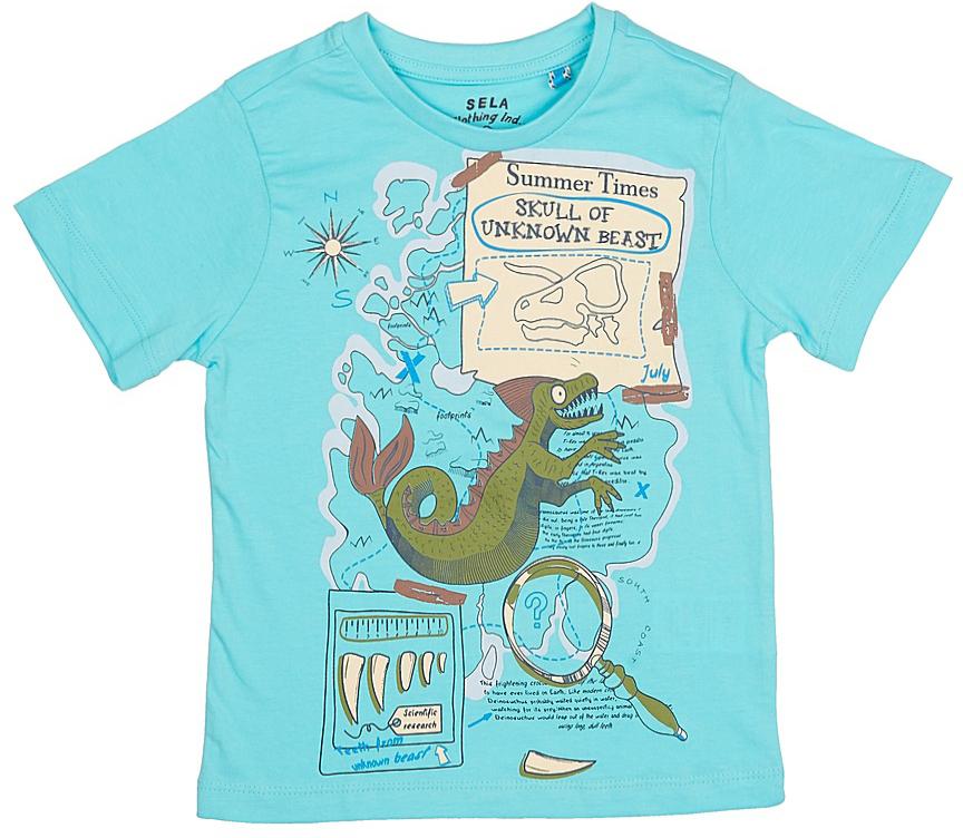 ФутболкаTs-711/188-7213Стильная футболка для мальчика Sela изготовлена из натурального хлопка и оформлена оригинальным принтом. Воротник дополнен мягкой трикотажной резинкой. Яркий цвет модели позволяет создавать модные образы.