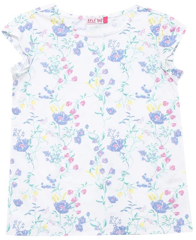 ФутболкаTs-611/983-7223Яркая футболка для девочки Sela станет отличным дополнением к гардеробу юной модницы. Модель прямого кроя изготовлена из натурального хлопка и оформлена оригинальным принтом. Воротник дополнен мягкой эластичной бейкой.
