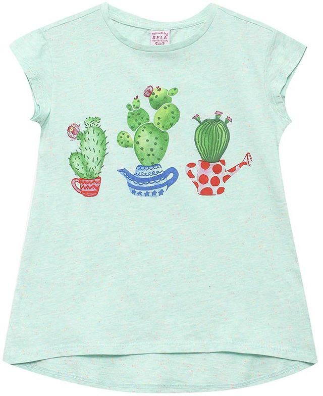 ФутболкаTs-511/326-7214Стильная футболка для девочки Sela станет отличным дополнением к гардеробу юной модницы. Модель А-силуэта изготовлена из натурального хлопка и оформлена оригинальным принтом. Воротник дополнен мягкой эластичной бейкой.