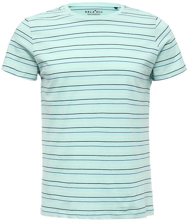 ФутболкаTs-211/1134-7223Стильная мужская футболка полуприлегающего силуэта Sela изготовлена из натурального хлопка в полоску. Воротник дополнен мягкой рикотажной резинкой. Яркий цвет модели позволяет создавать модные образы.