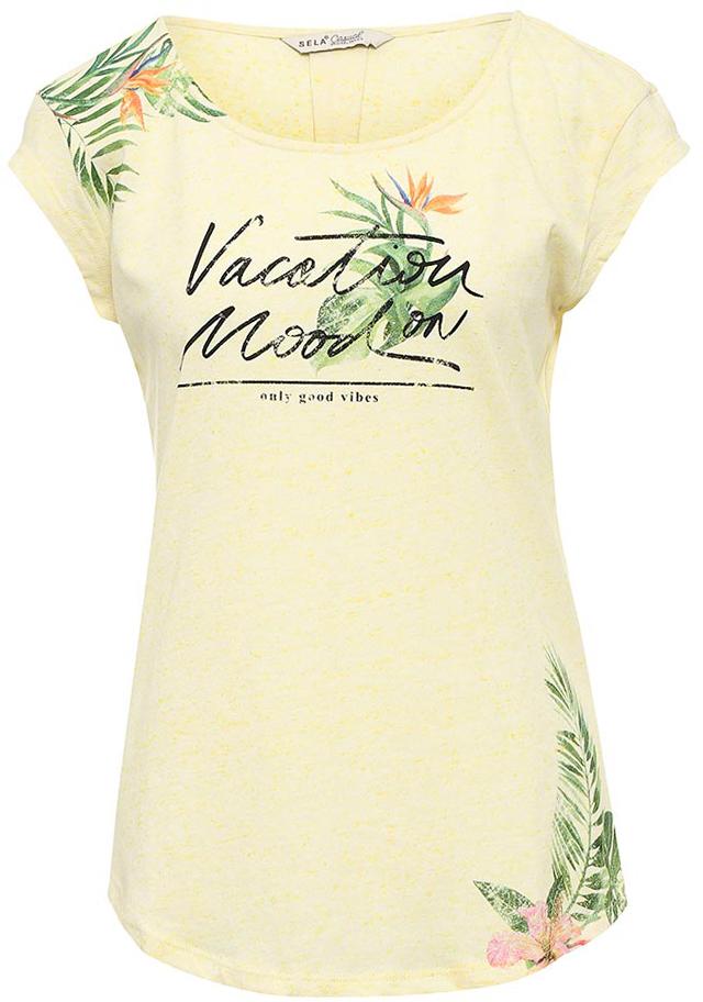 ФутболкаTs-111/1259-7224Стильная женская футболка Sela станет отличным дополнением к гардеробу каждой модницы. Модель полуприлегающего силуэта изготовлена из качественного хлопкового материала и оформлена цветочным принтом с надписями. Воротник дополнен мягкой эластичной бейкой. Универсальный цвет позволяет сочетать модель с любой одеждой.