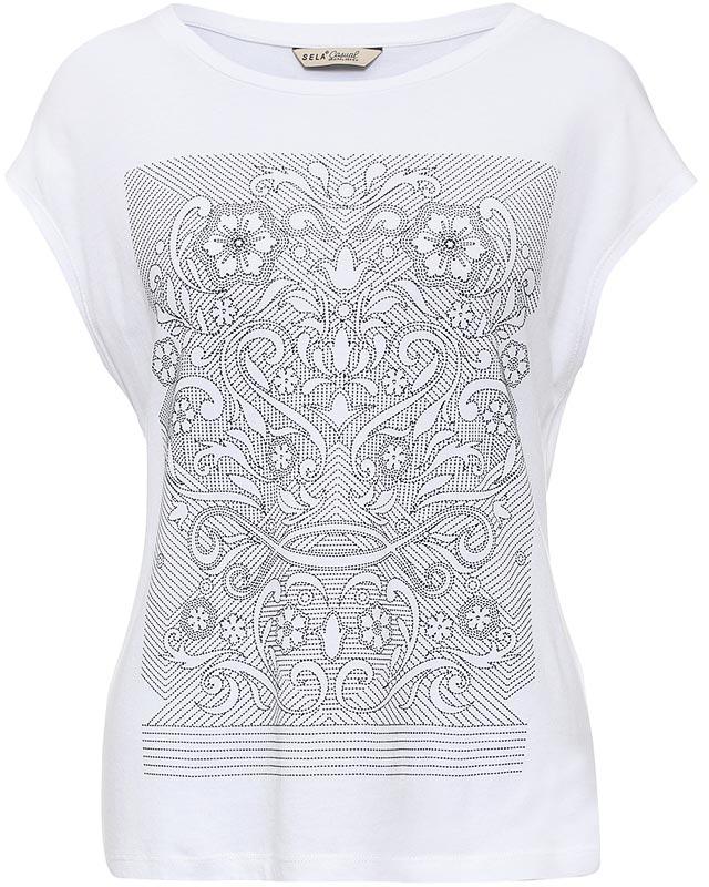 ФутболкаTs-111/1249-7225Стильная женская футболка Sela станет отличным дополнением к гардеробу каждой модницы. Модель полуприлегающего силуэта изготовлена из качественного хлопкового материала и оформлена оригинальным принтом. Воротник дополнен мягкой эластичной бейкой. Универсальный цвет позволяет сочетать модель с любой одеждой.