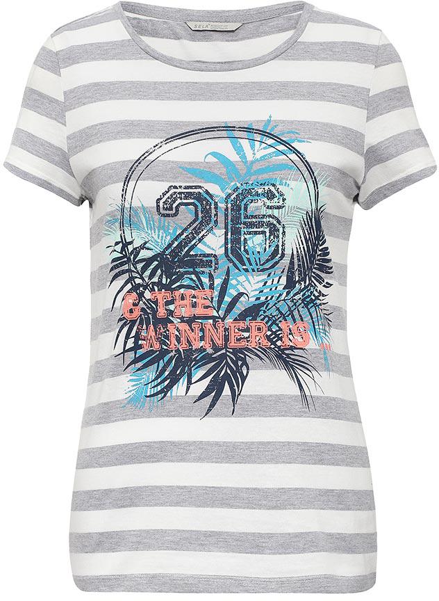ФутболкаTs-111/1247-7234Стильная женская футболка Sela станет отличным дополнением к гардеробу каждой модницы. Модель полуприлегающего силуэта изготовлена из качественного хлопкового материала и оформлена принтом с надписями. Воротник дополнен мягкой эластичной бейкой. Универсальный цвет позволяет сочетать модель с любой одеждой.