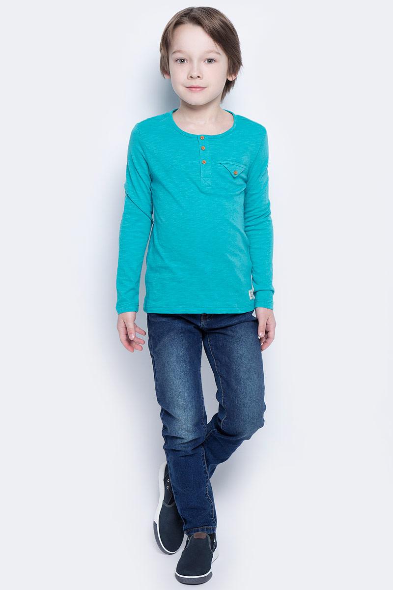 Футболка с длинным рукавом117BBBC12051900Футболка с длинным рукавом и короткой планкой - не просто базовая вещь в гардеробе ребенка, а залог хорошего летнего настроения. Если вы планируете купить недорого стильную футболку для мальчика, эта модель - отличный выбор!