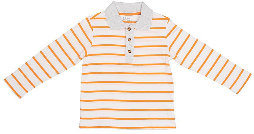 ПолоTp-711/527-7213Стильное поло для мальчика Sela выполнено из натурального хлопка и оформлено принтом в полоску. Модель прямого кроя с длинными рукавами и отложным воротничком застегивается на пуговицы до середины груди. Универсальный цвет позволяет сочетать модель с любой одеждой.