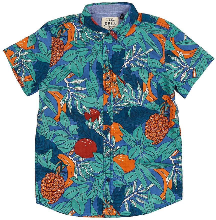 РубашкаHs-812/202-7214Стильная рубашка для мальчика Sela выполнена из натурального хлопка и оформлена ярким принтом. Модель прямого кроя с короткими рукавами и отложным воротничком застегивается на пуговицы и дополнена накладным карманом на груди. Яркий цвет модели позволяет создавать стильные летние образы.