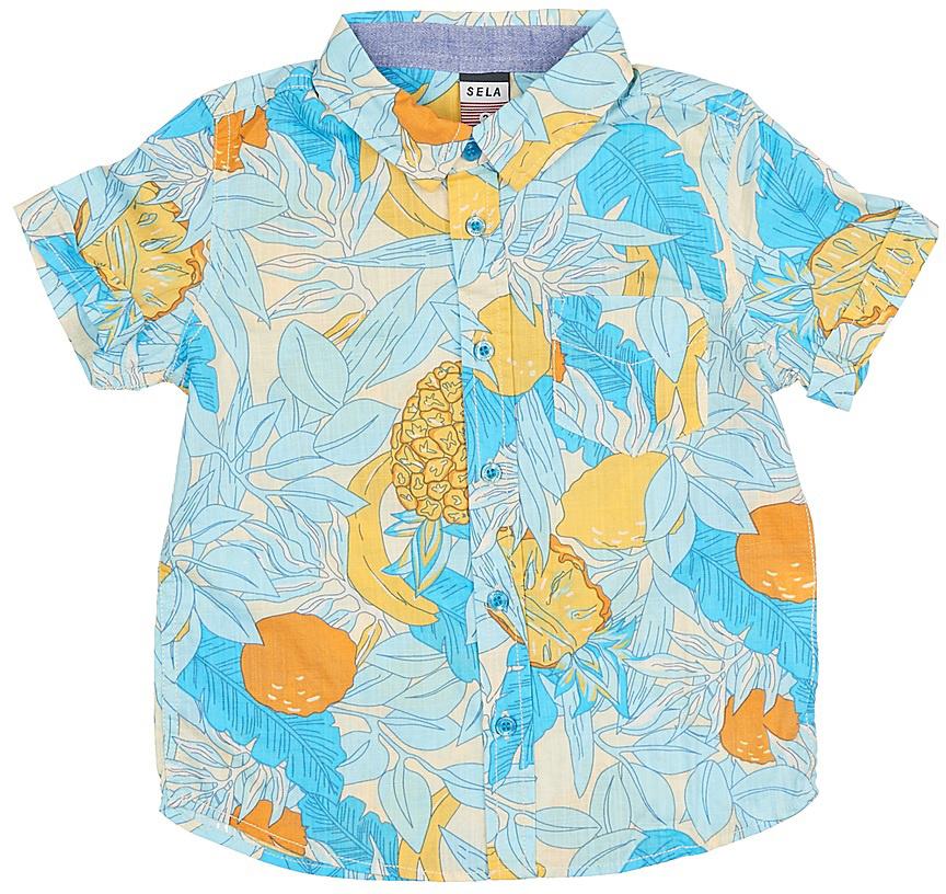 РубашкаHs-712/448-7214Стильная рубашка для мальчика Sela выполнена из натурального хлопка и оформлена ярким принтом. Модель прямого кроя с короткими рукавами и отложным воротничком застегивается на пуговицы и дополнена накладным карманом на груди. Яркий цвет модели позволяет создавать стильные летние образы.
