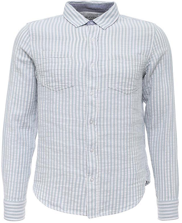 РубашкаH-212/752-7213Стильная мужская рубашка Sela выполнена из натурального хлопка и оформлена принтом в полоску. Модель полуприлегающего кроя с длинными рукавами и отложным воротничком застегивается на пуговицы и дополнена двумя накладными карманами на груди. Манжеты рукавов также дополнены пуговицами. Универсальный цвет позволяет сочетать модель с любой одеждой.