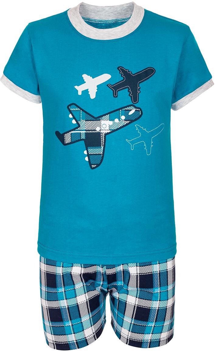 Комплект одеждыМ12028Комплект для мальчика M&D выполнен из натурального хлопка. В комплект входит футболка и шорты. Футболка с круглым вырезом горловины украшена принтом. Шорты дополнены эластичной резинкой на талии.
