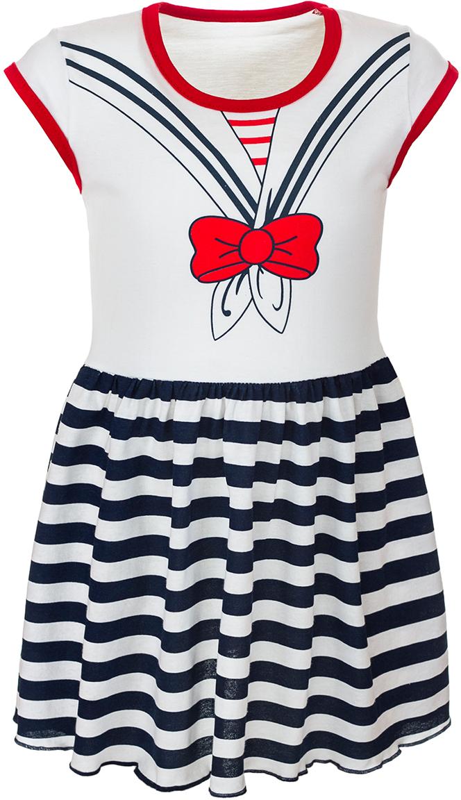 ПлатьеМ72401Платье для девочки M&D станет отличным вариантом для прогулок. Изготовленное из мягкого хлопка, оно тактильно приятное, хорошо пропускает воздух. Платье с круглым вырезом горловины и короткими рукавами-крылышками оформлено на груди принтом с изображением матроски, а юбка платья, с заложенными складочками для придания пышности, оформлена принтом в полоску. На горловине и по краям рукавов платье обшито контрастной текстильной бейкой.