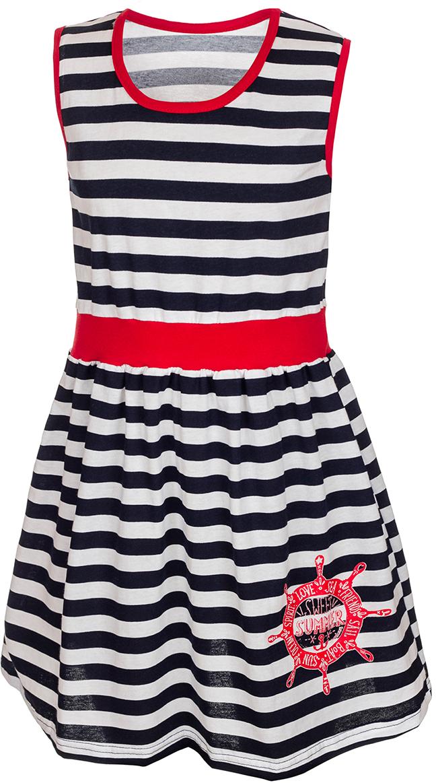 ПлатьеМ72723Платье для девочки M&D порадует ребенка своим модным дизайном. Изготовленное из мягкого хлопка, оно тактильно приятное, хорошо пропускает воздух. Платье с круглым вырезом горловины и без рукавов оформлено принтом в горизонтальную полоску. От линии талии заложены складочки, придающие платью пышность. Изделие обшито текстильной бейкой контрастного цвета по линии выреза горловины и рукавов. На талии широкая полоса однотонной контрастной ткани, а на подоле юбки платья имеется изображение корабельного штурвала и надписи на английском языке.