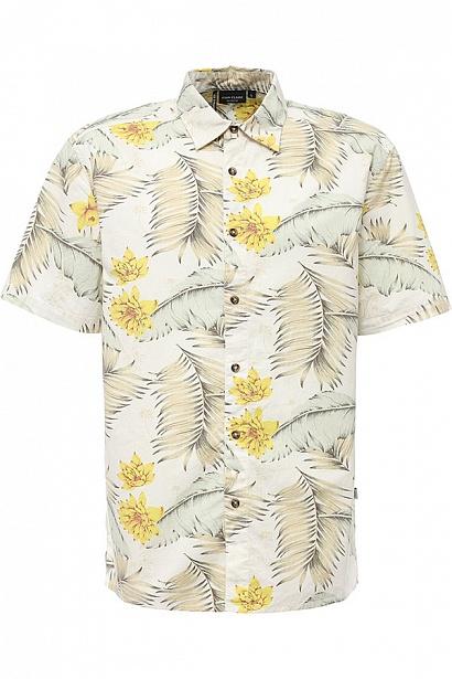 РубашкаS17-24014_101Рубашка мужская Finn Flare выполнена из натурального хлопка. Модель с отложным воротником и короткими рукавами застегивается на пуговицы.