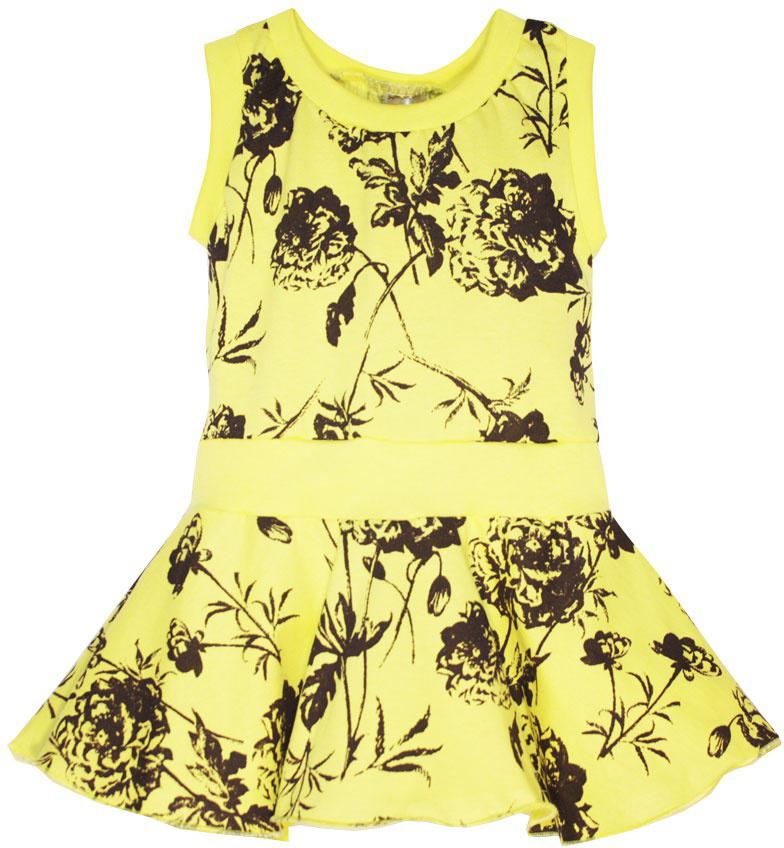 Платье21607Платье для девочки КотМарКот выполнено из натурального хлопка и оформлено принтом с розами. Модель с круглым вырезом горловины и юбкой-полусолнце.
