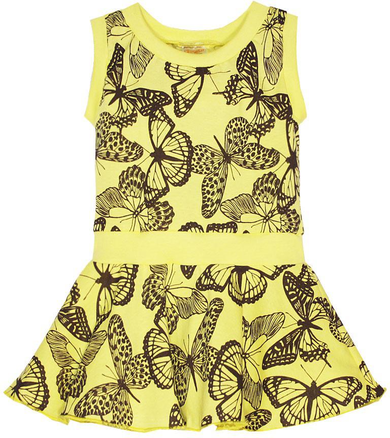 Платье21601Платье для девочки КотМарКот выполнено из натурального хлопка и оформлено принтом с бабочками. Модель с круглым вырезом горловины и юбкой-полусолнце.