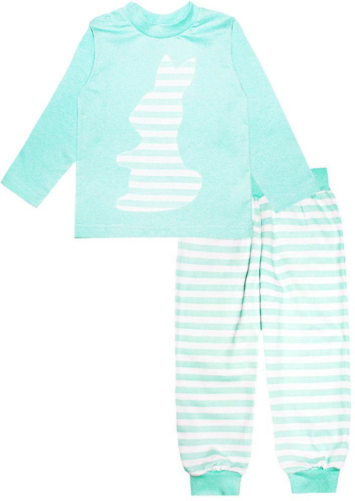 Пижама16109Пижама для девочки КотМарКот выполнена из натурального хлопка и состоит из кофточки и брючек. Кофточка выполнена с длинными рукавами и удобным круглым воротом. Штанишки на талии собраны на эластичную резинку. Кофточка оформлена крупной оригинальной аппликацией. Манжеты штанишек и горловина кофты отделаны эластичными мягкими резинками.
