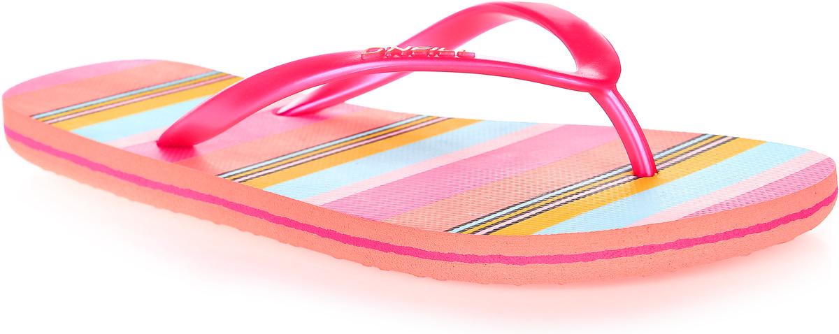 Сланцы7A8622-4900Сланцы от ONeill незаменимы для пляжного сезона. Модель выполнена из качественного полимерного материала. Перемычка между пальцами отвечает за надежную фиксацию модели на ноге. Удобная подошва выполнена в ярких цветах. Эффектные сланцы помогут вам создать яркий, запоминающийся образ.