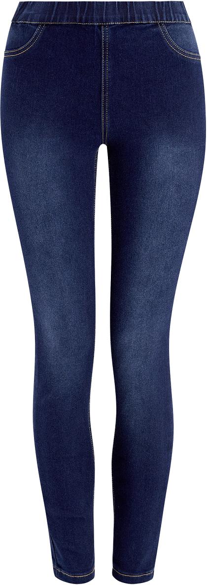 Джинсы12104043-5B/45468/7000WЖенские облегающие джинсы oodji Ultra изготовлены из эластичного хлопка с добавлением полиэстера и вискозы. Джинсы-скинни имеют широкую эластичную резинку на поясе. Сзади расположены два накладных кармана. Изделие оформлено имитацией ширинки и втачных карманов спереди.
