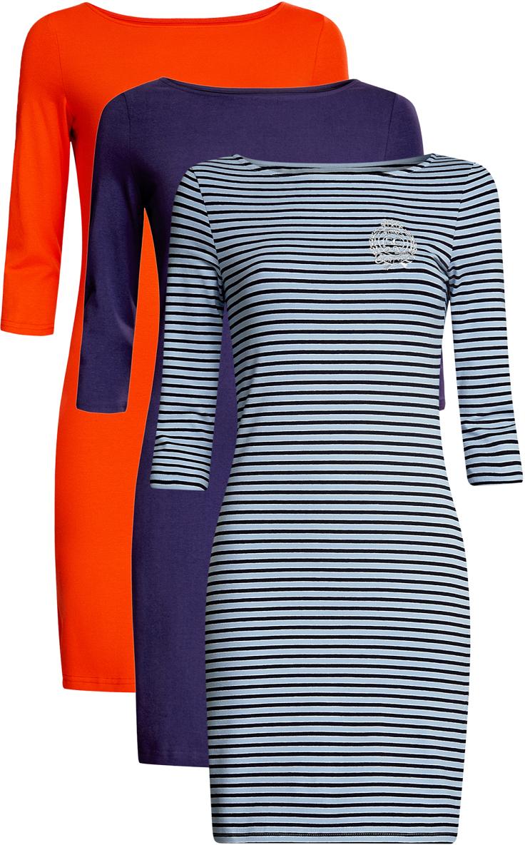 Платье14001071T3/46148/1909SКомплект из трех мини-платьев oodji Ultra изготовлен из хлопка с добавлением эластана. Обтягивающие платья с вырезом лодочкой и рукавами 3/4 выполнены в лаконичном дизайне. Все платья комплекта представлены в разных цветах.