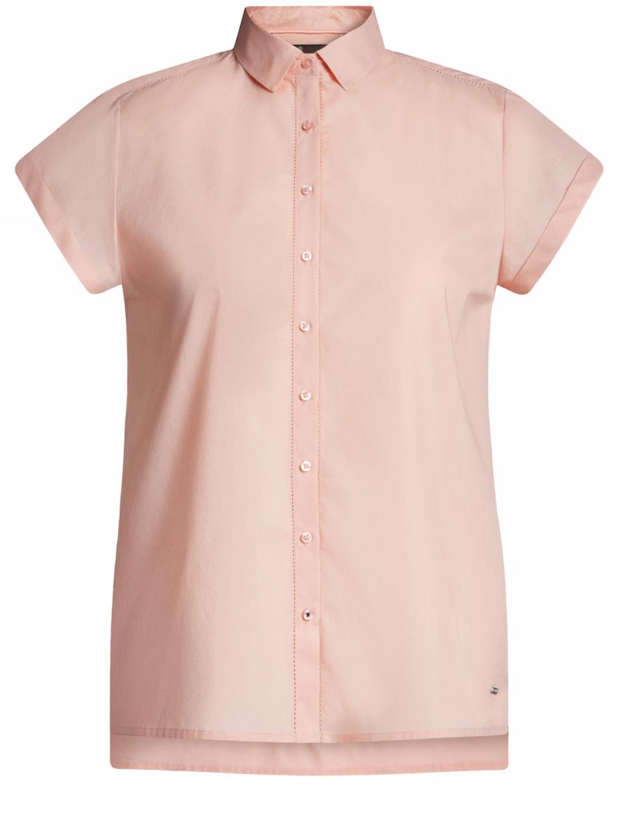 Рубашка11411141/46401/1000NРубашка женская oodji Ultra выполнена из высококачественного материала. Модель прямого кроя с отложным воротником и короткими рукавами застегивается на пуговицы.