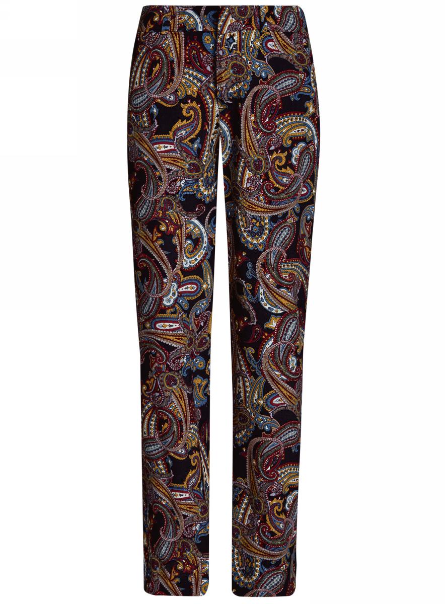 Брюки21701095M/42800/2957EЖенские летние брюки oodji Collection выполнены из высококачественного материала. Модель стандартной посадки застегивается на пуговицу в поясе и ширинку на застежке-молнии. Пояс имеет шлевки для ремня. Брюки оформлены оригинальным прнтом.