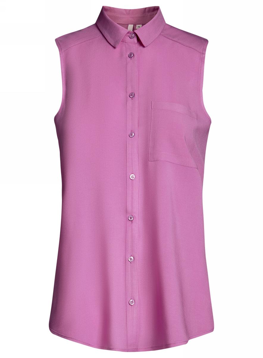Блузка11411108B/26346/1000NБлузка женская oodji Ultra выполнена из высококачественного материала. Модель с отложным воротником застегивается на пуговицы. Изделие оформлено накладным карманом.