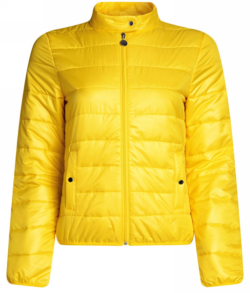 Куртка10203060/43363/4300NЖенская куртка oodji Ultra выполнена из высококачественного материала, в качестве подкладки используется полиэстер. Утеплитель - синтепон. Модель с воротником-стойкой застегивается на застежку-молнию и дополнительно сверху на кнопку. Спереди расположено два втачных кармана на кнопках.