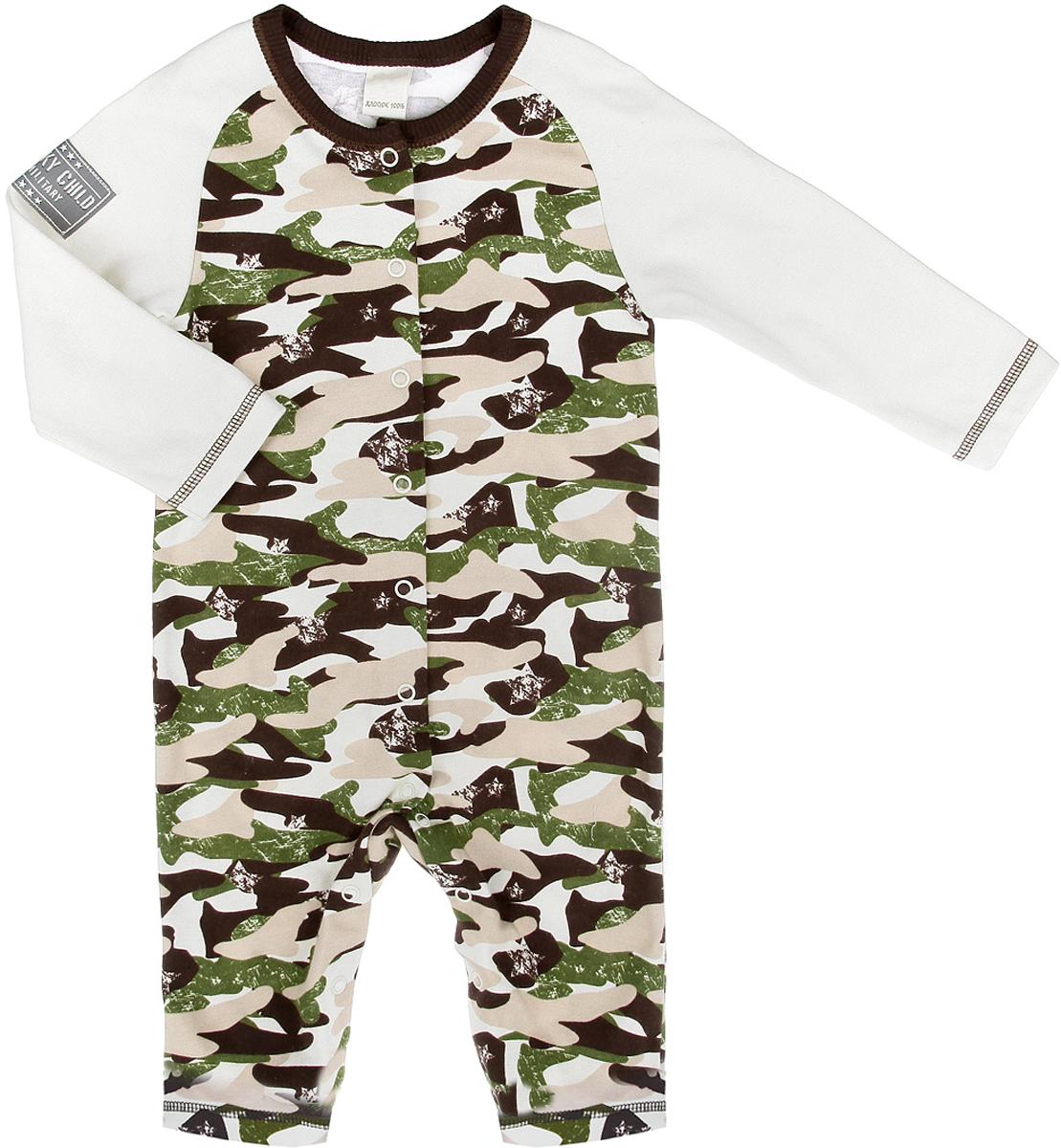 Комбинезон домашний31-1Детский комбинезон Lucky Child Вежливые люди - очень удобный и практичный вид одежды для малышей. Комбинезон выполнен из интерлока - натурального хлопка, благодаря чему он необычайно мягкий и приятный на ощупь, не раздражает нежную кожу ребенка и хорошо вентилируется, а эластичные швы приятны телу малыша и не препятствуют его движениям. Комбинезон с длинными рукавами-реглан и открытыми ножками имеет застежки-кнопки от горловины до щиколоток, которые помогают легко переодеть младенца или сменить подгузник. Оформлен комбинезон принтом на военную тематику и украшен небольшой нашивкой. Детский комбинезон Lucky Child идеален для использования днем и незаменим ночью. Комбинезон полностью соответствует особенностям жизни младенца в ранний период, не стесняя и не ограничивая его в движениях!