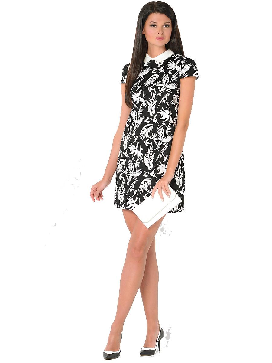ПлатьеWD-2419VПлатье прямого силуэта, с коротким втачным рукавом и отложным воротником из отделочной однотонной ткани.
