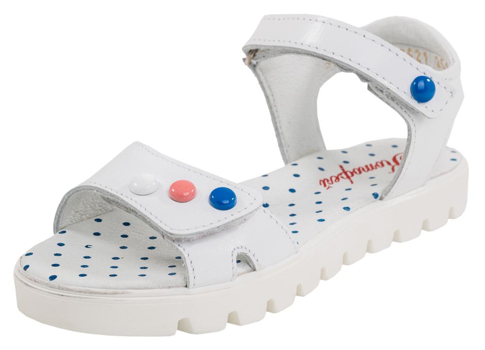 Сандалии522075-21Модные сандалии для девочки от Котофей выполнены из натуральной кожи. Ремешки с застежками-липучками надежно зафиксируют модель на ноге. Внутренняя поверхность и стелька из натуральной кожи обеспечат комфорт при движении. Подошва дополнена рифлением.