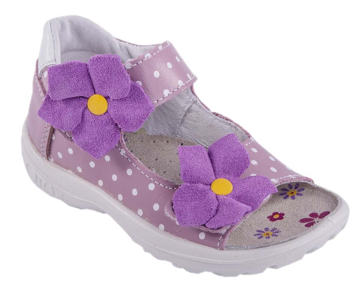 Сандалии122067-25Модные сандалии для девочки от Котофей выполнены из натуральной кожи и оформлены принтом в горох. Внутренняя поверхность и стелька из натуральной кожи обеспечат комфорт при движении. Ремешки с застежками-липучками, украшенные декоративными цветками, надежно зафиксируют модель на ноге. Подошва дополнена рифлением.