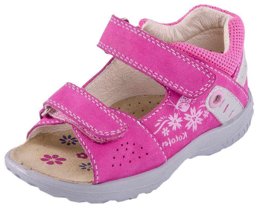 Сандалии122070-23Модные сандалии для девочки от Котофей выполнены из натуральной кожи и текстиля. Ремешки с застежками-липучками надежно зафиксируют модель на ноге. Внутренняя поверхность и стелька из натуральной кожи обеспечат комфорт при движении. Подошва дополнена рифлением.