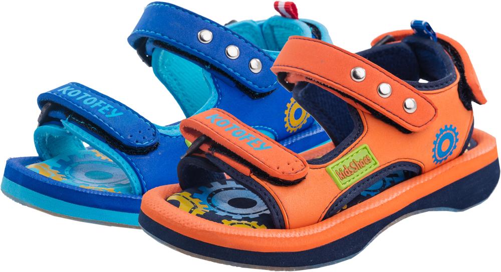 Сандалии225027-11Модные сандалии для мальчика от Котофей выполнены из материала ЭВА. Ремешки с застежками-липучками надежно зафиксируют модель на ноге. Внутренняя поверхность из текстиля и стелька из материала ЭВА обеспечат комфорт при движении. Подошва дополнена рифлением.