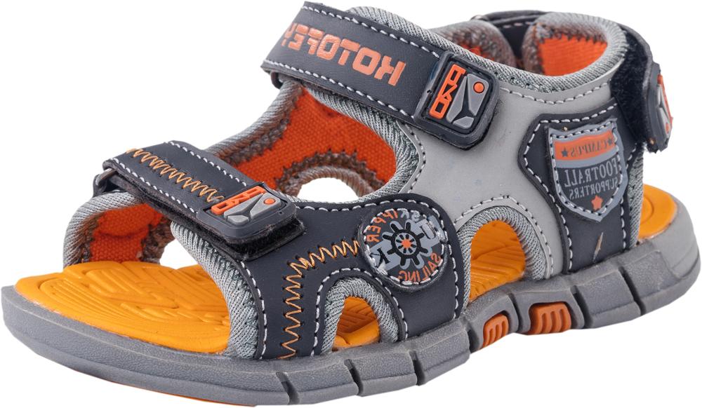 Сандалии323052-11Стильные сандалии Котофей не оставят равнодушным вашего мальчика! Модель, изготовленная из искусственной кожи, оформлена декоративной прострочкой, сбоку - оригинальными нашивками. Ремешки с застежками-липучками, оформленные нашивками из ПВХ, прочно закрепят модель на ножке и отрегулируют нужный объем. Подкладка выполнена из текстиля. Стелька, выполненная из материала ЭВА с рельефной поверхностью, комфортна при ходьбе. Легкая и гибкая подошва из материала ТЭП с рифлением обеспечивает сцепление с любой поверхностью. Практичные и стильные сандалии займут достойное место в гардеробе вашего мальчика.