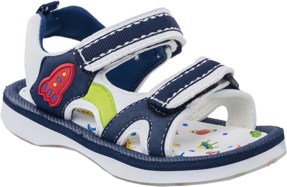 Сандалии225030-11Модные сандалии для мальчика от Котофей выполнены из материала ЭВА. Внутренняя поверхность из текстиля не натирает. Ремешки с застежками-липучками надежно зафиксируют модель на ноге. Стелька из материала ЭВА обеспечивает комфорт при движении. Подошва дополнена рифлением.