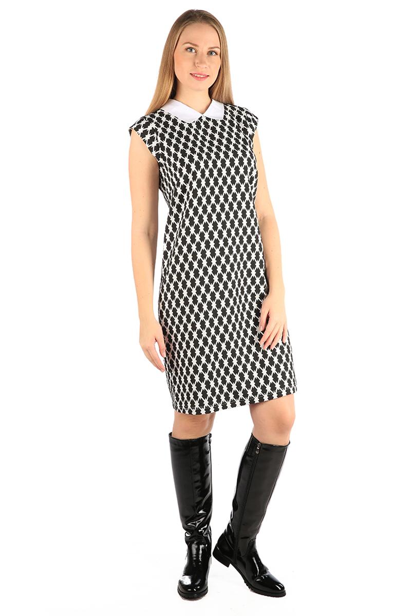 ПлатьеWD-2469FПлатье полуприлегающего силуэта, с короткими рукавами в виде крылышек, с отложным воротником из однотонной ткани.