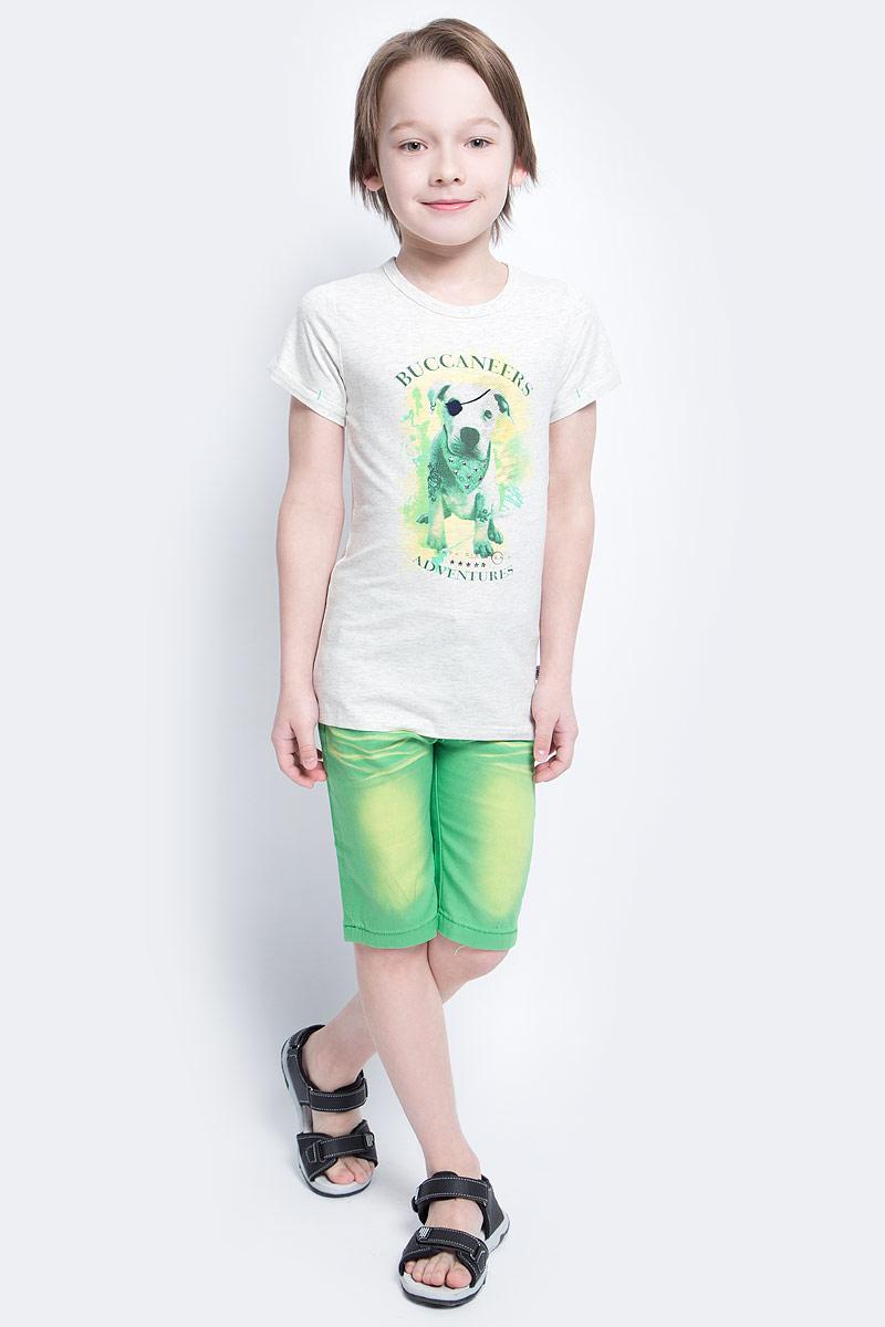 ФутболкаSS161B134-20Футболка для мальчика Nota Bene, изготовленная из эластичного хлопка, идеально подойдет для повседневной носки. Материал изделия мягкий и приятный на ощупь, не сковывает движения и позволяет коже дышать, обеспечивая комфорт. Футболка с круглым вырезом горловины и короткими рукавами оформлена оригинальным изображением собачки, а также принтовыми надписями. На рукавах предусмотрены декоративные отвороты. Модель украшена фигурными металлическими клепками. Футболка станет отличным дополнением к детскому гардеробу, ребенку в ней будет комфортно и удобно.