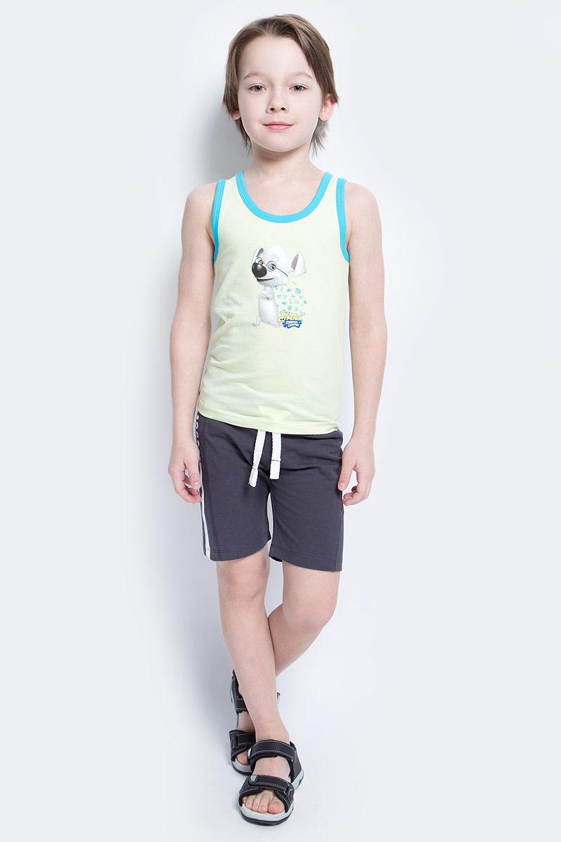 Майка14206Майка для мальчика КотМарКот станет модным и стильным предметом детского гардероба. Она удобна как для занятий спортом, так и для повседневной носки. Изготовленная из натурального хлопка, майка необычайно мягкая и приятная на ощупь, не сковывает движения и позволяет коже дышать, не раздражает даже самую нежную и чувствительную кожу ребенка, обеспечивая ему наибольший комфорт. Круглый вырез горловины и проймы дополнены трикотажной эластичной бейкой контрастного цвета. На груди изделие декорировано изображением персонажа из мультсериала Белка и Стрелка. Озорная семейка. Стильный крой и современный дизайн майки добавляют сходство со взрослыми моделями. В ней ваш маленький непоседа будет чувствовать себя уютно и комфортно.