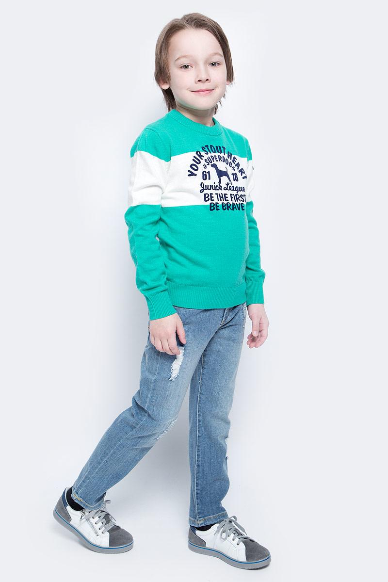 ДжемперWK5209-84Модный джемпер Nota Bene подарит вашему мальчику комфорт и удобство в прохладные дни. Изготовленный из хлопка с добавлением нейлона и шерсти, он необычайно мягкий и приятный на ощупь. Джемпер с длинными рукавами и круглым вырезом горловины превосходно тянется и отлично сидит. Горловина, манжеты рукавов и низ джемпера связаны резинкой. Модель оформлена принтовыми надписями на английском языке. Оригинальный современный дизайн и модная расцветка делают этот джемпер модным и стильным предметом детского гардероба.