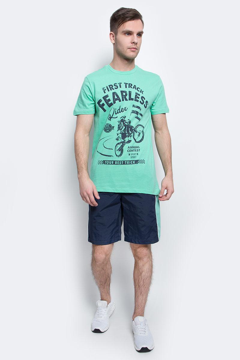ФутболкаTs-2411/009-7214Стильная мужская футболка полуприлегающего силуэта Sela изготовлена из натурального хлопка и оформлена орининальным принтом с надписями. Воротник дополнен мягкой рикотажной резинкой. Яркий цвет модели позволяет создавать модные образы.