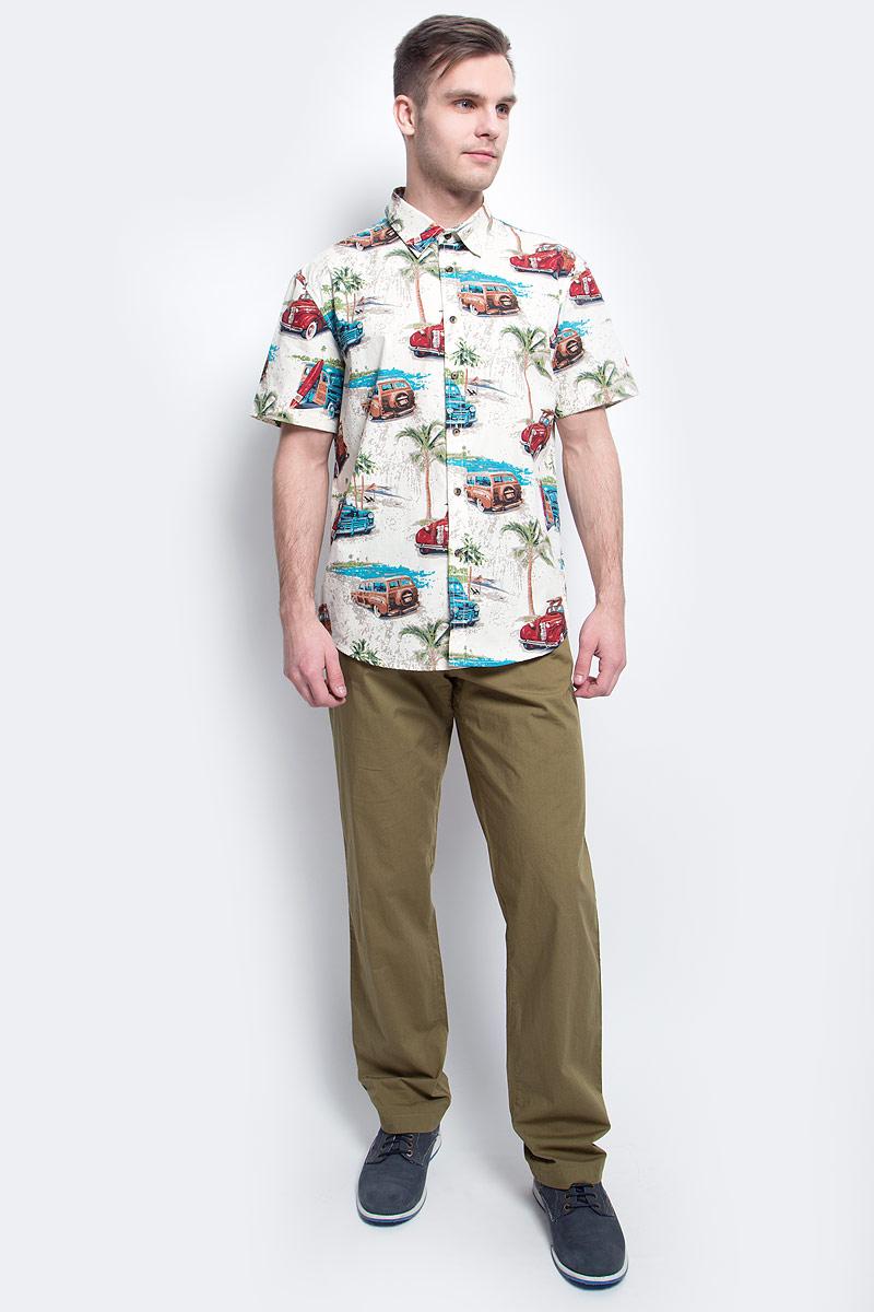 РубашкаS17-24019_101Рубашка мужская Finn Flare выполнена из хлопка. Модель с отложным воротником и короткими рукавами застегивается на пуговицы.
