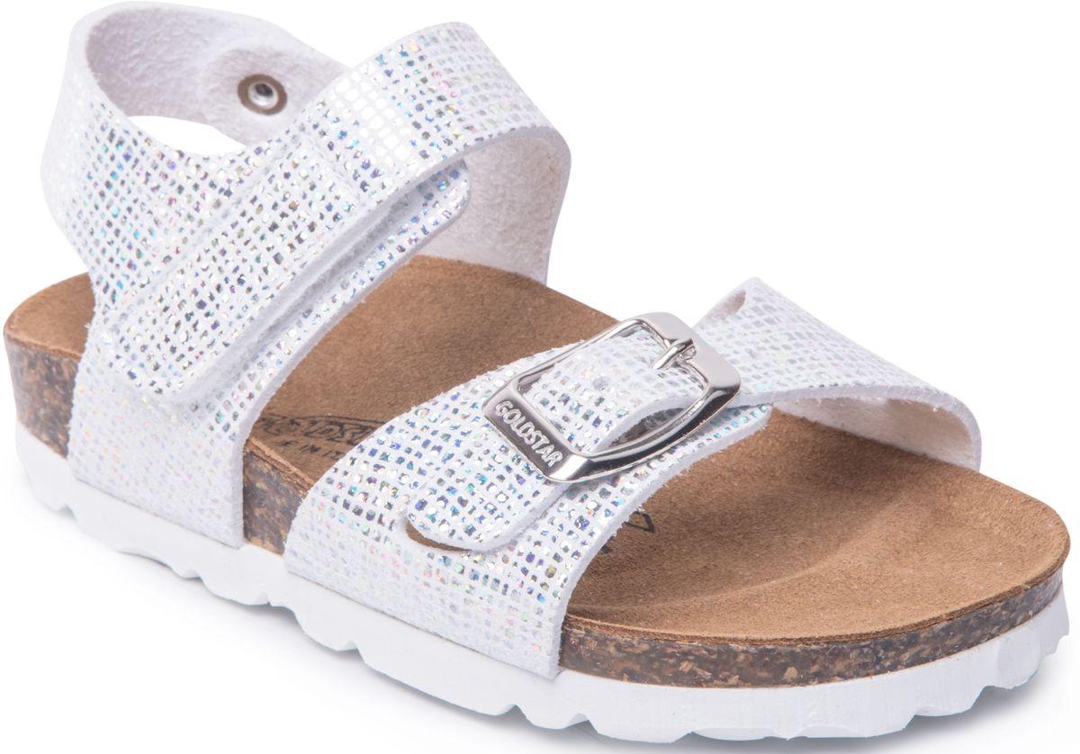 Сандалии1847/ARGENTМодные сандалии от Goldstar не оставят равнодушной вашу девочку! Модель изготовлена из полиэстера и дополнена тиснением. Ремешок с застежкой - пряжкой на мысе, оформленный названием бренда и ремешок с застежкой - липучкой на щиколотке, прочно закрепят обувь на ножке и отрегулируют нужный объем. Стелька из полиэстера комфортна при движении. Подошва с рифлением обеспечивает отличное сцепление с поверхностью. Практичные и стильные сандалии займут достойное место в гардеробе вашей девочки.