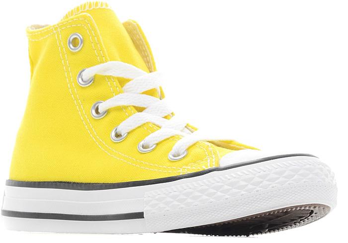 Кеды355738Стильные высокие детские кеды Chuck Taylor All Star от Converse приведут в восторг вашего ребенка! Кеды выполнены из плотного текстиля и оформлены контрастной прострочкой. Мыс защищен резиновой накладкой. Классическая шнуровка на подъеме надежно фиксирует обувь на ноге. Стелька и подкладка из мягкого текстиля комфортны при ходьбе. Подошва исполнена из износостойкой резины. Рифление на подошве обеспечивает идеальное сцепление с любыми поверхностями. Эффектные кеды помогут создать яркий, динамичный образ.