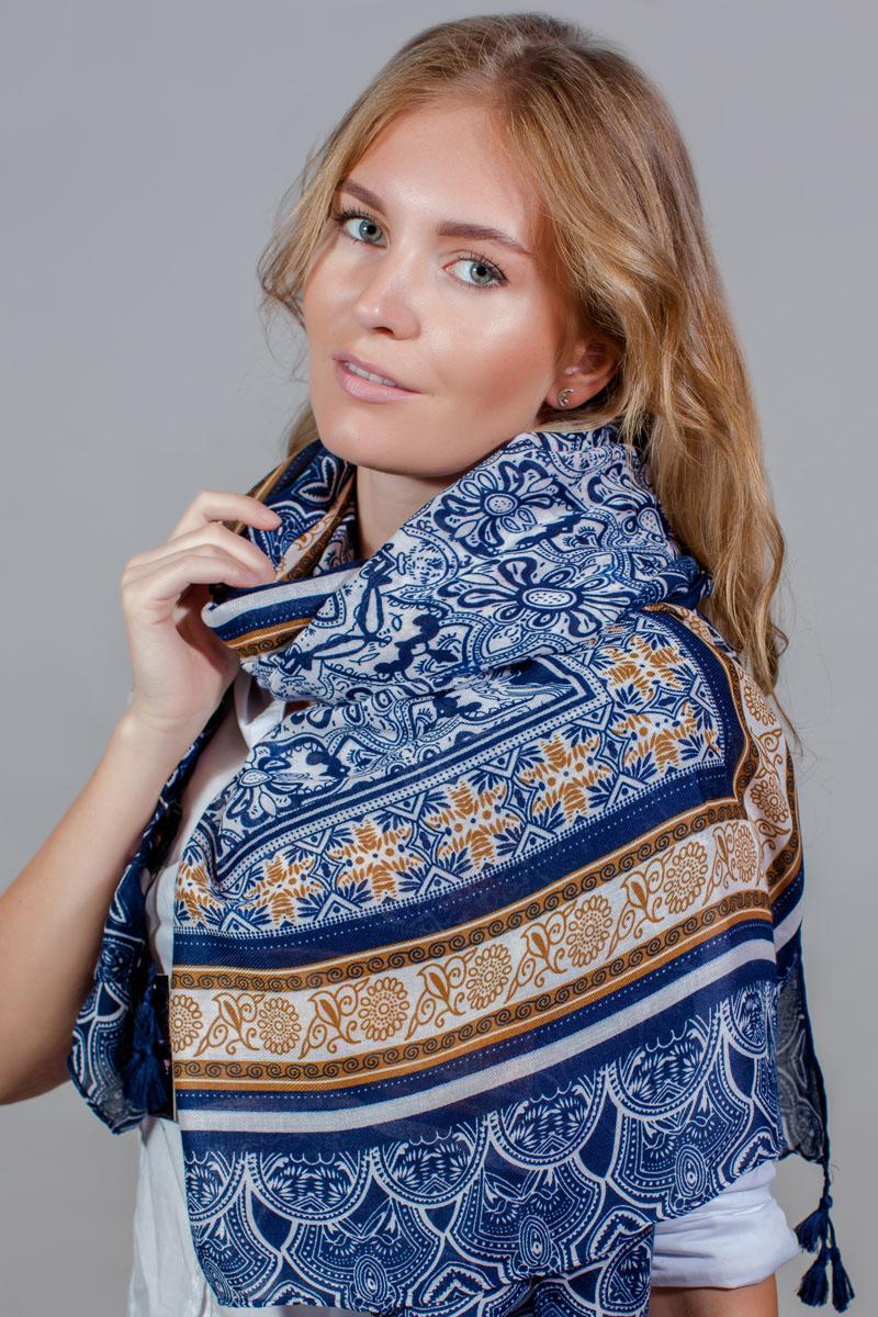 ПалантинSJ-11777-11Яркий палантин Sophie Ramage изготовлен из модала и шелка. Модель оформлена оригинальным принтом. Изделия Sophie Ramage приятные на ощупь и подойдут к любому стилю.