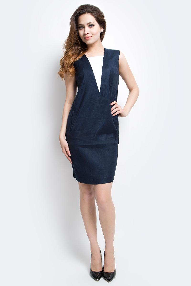 ПлатьеCS17-17016_101Платье Finn Flare выполнено из льна, вискозы и эластана. Модель по бокам дополнена карманами.