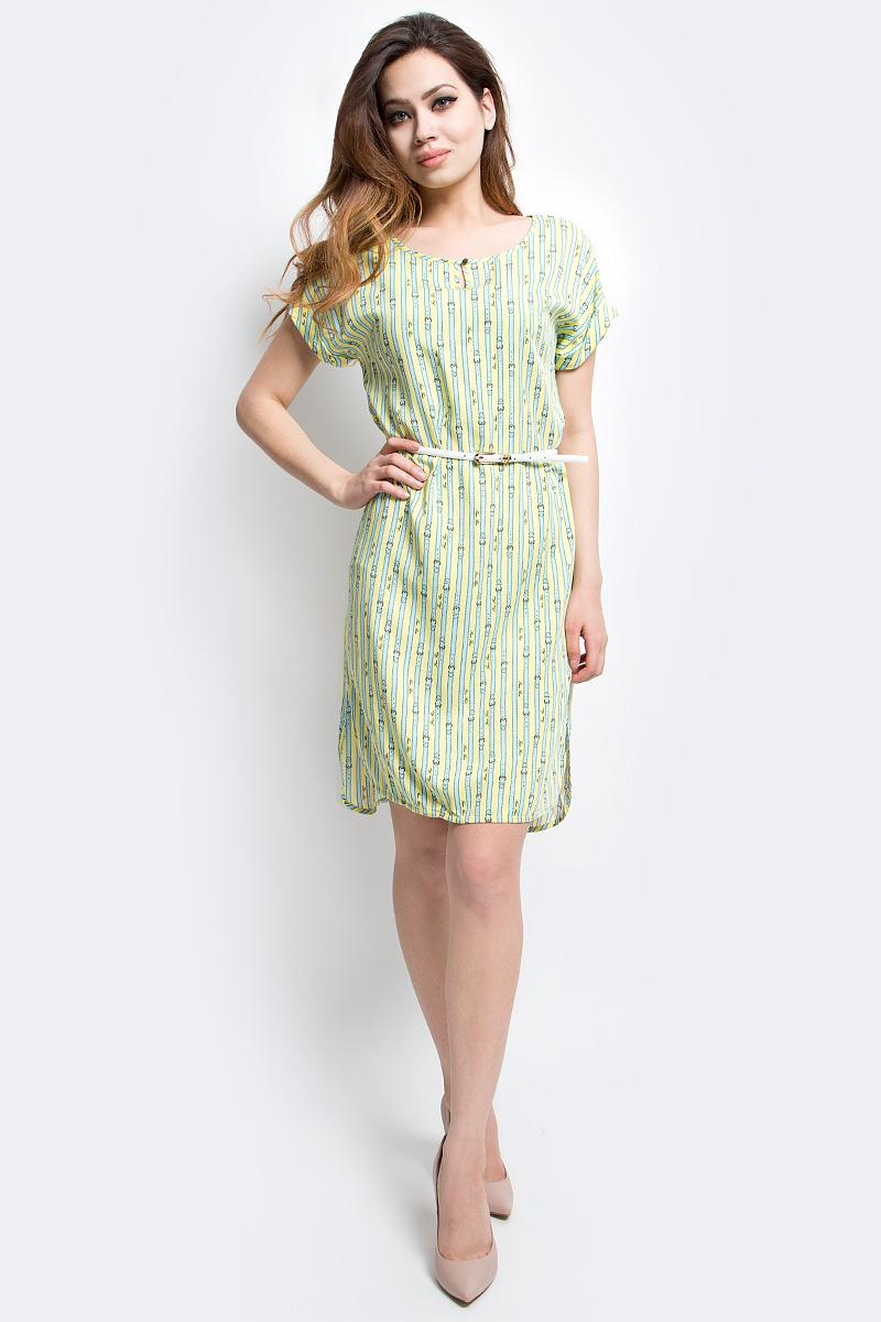 ПлатьеS17-14020_105Платье Finn Flare выполнено из вискозы. Модель с круглым вырезом горловины и короткими рукавами.