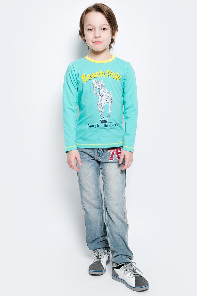 Футболка с длинным рукавомWJF160052-87Модный лонгслив для мальчика M&D выполнен из хлопка с добавлением лайкры. Модель с круглым вырезом горловины и длинными рукавами оформлена спереди оригинальным принтом. Вырез горловины дополнен трикотажной резинкой.