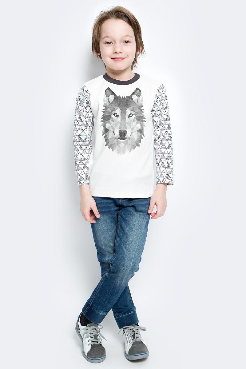Футболка с длинным рукавом15073Лонгслив для мальчика КотМарКот Геометрия выполнен из натурального хлопка. Лонгслив с длинными рукавами и круглым вырезом горловины дополнен двумя кнопками на плече для удобства переодевания.